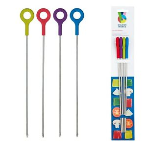 4 x Silicone Finished Skewers by Colourworks - metal, bbq, grill, cookout, safet