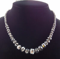 AAA 6-14MM Sliver Crystal Faceted Abacus Loose Beads Gem Necklace 18'' R-55