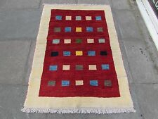 Old Hand Made Traditional Persian Rugs Oriental Red Wool Gabbeh Rug 150x106cm