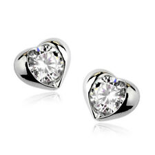 White Gold Plated Cubic Zirconia Stud Costume Earrings