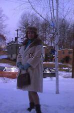 Org Vintage 1964 Negative / 35mm Slide- Women's Fashion- Fur Coat- Hat- Skirt