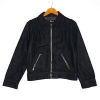 Revival Womens Denim Jacket Size 12 Black Zip Pocket 100% Cotton