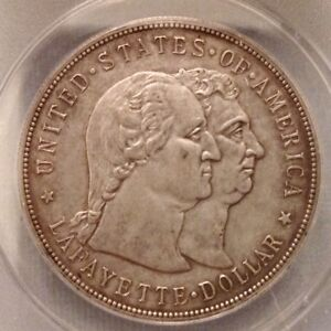 -  1900 US Lafayette Commemorative Silver Dollar ANACS AU 50 Details