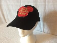 DISNEY MICKEY MOUSE CLUB HOUSE CREW FRINGE HAT / CAP. BLACK. RED. ADJUSTABLE.