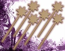 Six (6) Fairy Wands Craft Wood MDF Girls Birthday Party Favor Novelty Toys 129
