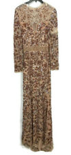 Mac Duggal Gown 0 Rose Gold Sequins Beaded Long Sleeve Sweetheart 4316D Formal