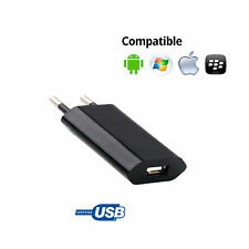 CARGADOR CORRIENTE USB RED DE PARED UNIVERSAL PARA MOVIL WINDOWS NEGRO 5V 1A