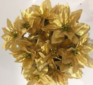 GOLD POINSETTIA BUNCHES X 3 LOTS ARTIFICIAL SILK XMAS FLOWERS HOME GRAVE CRAFTS