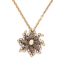 Gold Encrusted Crystals Gems Starfish Flower Pendent Brooch Necklace Costume De