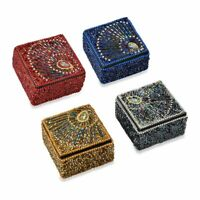 Set of 4 Handcrafted Wooden Beaded Square Jewelry Organizer Box Storage