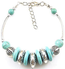 NEW Free shipping Tibet silver Pendant jade turquoise bead DIY bracelet S315