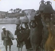 Water Carriers Along the Nile, Egypt, Magic Lantern Glass Photo Slide, Keystone