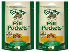 (2) GREENIES PILL POCKETS FOR CATS. CHICKEN FLAVOR. 1.6OZ PACKS