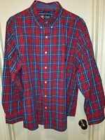 CHAPS Easy Care Men's Long Sleeve Button Down Red Plaid Collared Shirt Size XL