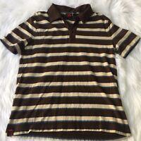 Tony Hawk Striped Polo Brown Beige Blue Striped Polo Shirt Size Small