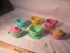 Fisher Price Fun with Food Vintage Yellow Tea set Cups saucers sugar cream A toy