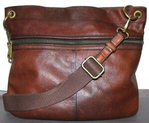 ❤️FOSSIL Rugged Premium Pebbled Leather Tote Crossbody Bag Large 14x12.5 L@@K!