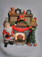 Vintage Lighted Ceramic Christmas Tree Santa Fireplace Scene 9x9