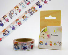 Big eyed cat people washi tape! Kawaii Scottish Fold kitty masking tape, kitten