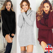 UK Fashion Womens Knitted Sweater Dress Jumper Dress Long Sleeve Polo Roll Neck