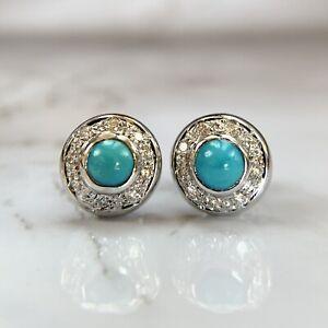 18K White Gold Persian Turquoise Cabochon Diamond Halo Stud Earrings