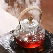 Heat Resistant Glass Teapot With Copper Handle Lid Heated Container Coffee Maker