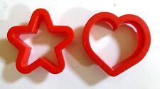Lot 2 emportes pièces plastique rouge cœur et étoile cuisine pâtisserie