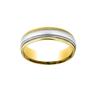 14K Two-Toned 6mm Comfort-Fit Carved Men's Band Ring Double Milgrain Size 5