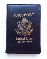 Black USA Genuine Leather Passport Cover Travel Wallet Card Organizer