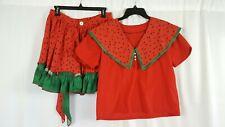 VTG Women Handmade Watermelon Costume Skirt Ruffle Top Collar S/M