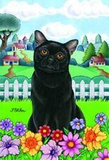 New listing Spring Garden Flag - Black Cat 76011