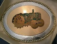 "Belt Buckle Green Tractor Gold Embellishments 3.75"" NEW!"