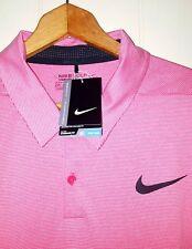Nike Golf Moisture Wicking Polo Shirt Men XL Red & White Striped NEW $75.00