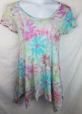 Fresh Produce Top size M print tunic Short sleeve shirt womens floral gray
