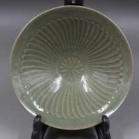 CHINESE OLD YAOZHOU KILN CELADON CARVED FLOWER PORCELAIN BAMBOO HAT BOWL