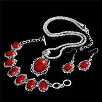 Fashion Elegant Women Turquoise Stone Necklace Earrings Bracelet Jewelry Set New