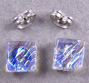 "DICHROIC Glass Earrings Moonstone Blue Teal Opal Textured Ripple 1/4"" 10mm STUDS"