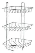STAINLESS STEEL METAL 3 TIER CORNER SHOWER CADDY BASKET STORAGE RACK CHROME