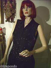 Armani Kleid aus Rock Weste  Gr. 36 schwarz Seide Pailletten kombinierbar edel