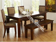 Sierra Wooden Dining table with 4 Cushion chairs + 1 Bench furniture set !
