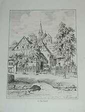 Kenzingen Nordweil Kirche Dorfstrasse Original Ansicht Litho Lederle 1879