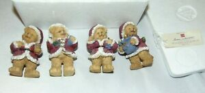 """HOMCO 3"""" Home Interior Set of 4 Christmas Bears Figurines NEW in Box #55043"""