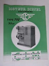 prospectus moteur fixe diesel stationnaire CLM type 752  35cv