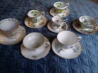 Lot of 7 Various Tea Cup sets. Mix- Match sets