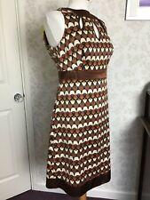 Principles brown cream black geometric pattern Zipped dress size 12