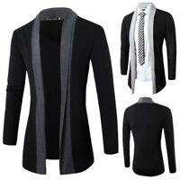 Men's Casual Sweater Slim Fit Long Sleeve Knitted Cardigan Trench Coat Jacket