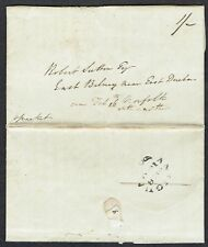 Antigua 1840 entire to Norfolk, small Fleuron, charged 1/- packet rate