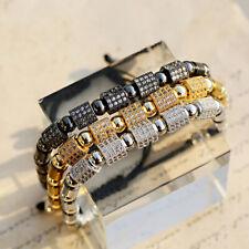 Luxury Men's Women Clear Zircon Hexagon Hematite Macrame Adjustable Bracelets