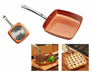 """Copper NonStick Square Fry Pan 9"""" Ceramic Frying Skillet Induction Cookware Chef"""