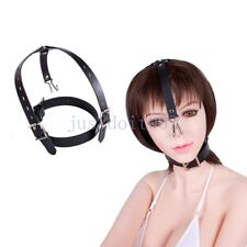 Leather Restraint Hot Toy Slave roleplay neck collar Nose hook Head hood harness